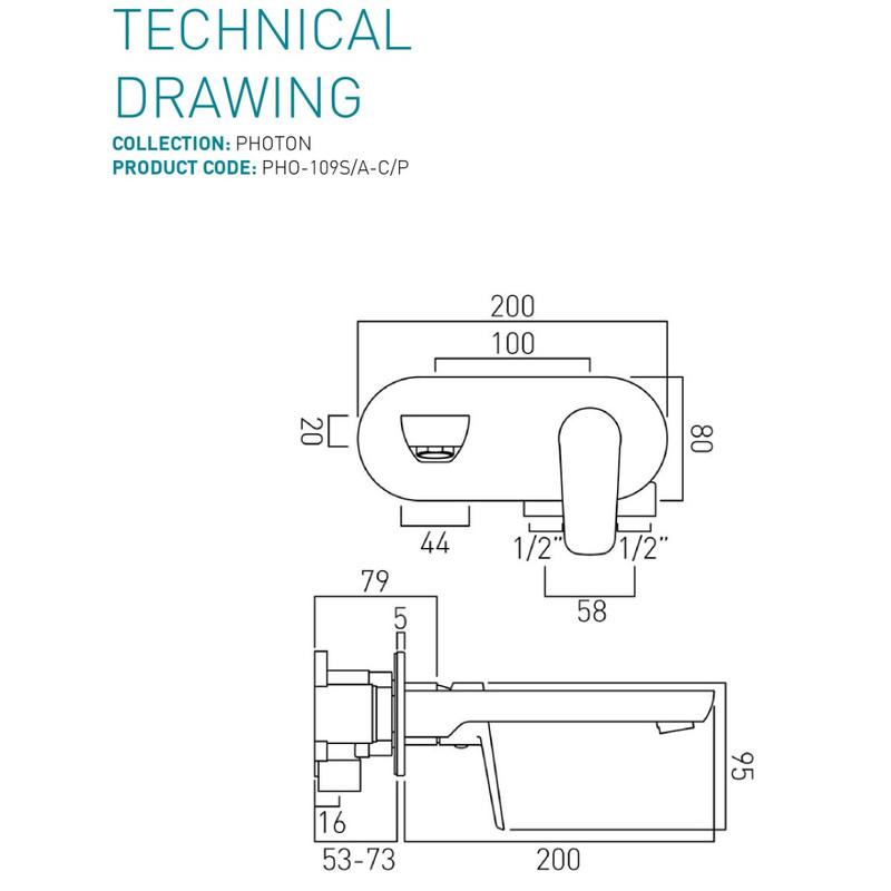 Photon Wall Mounted Basin Mixer