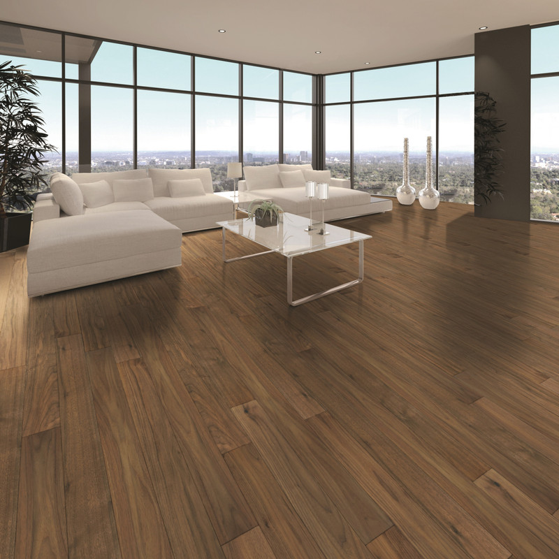 Tuscan Walnut Engineered Naytural wood Flooring in a  low maintainace lacquered finish.