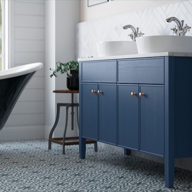 1200 Double Vessel Roasedale Floor Standing basin  unit with classic carrara worktop in stunning Padstow Blue with Bronze Knob style handle