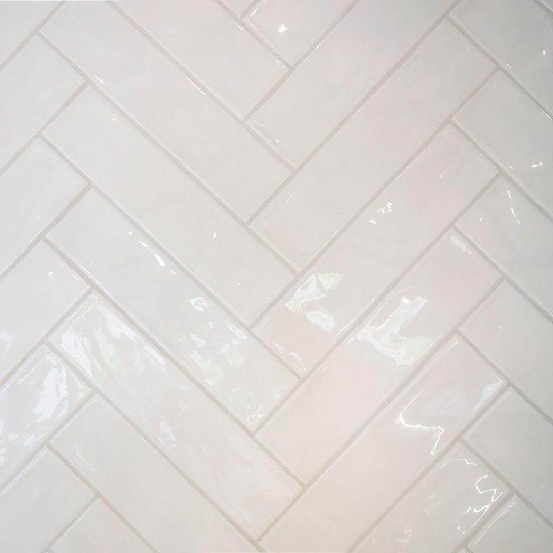 Block White Glossy Heringbone 7.6x30.2