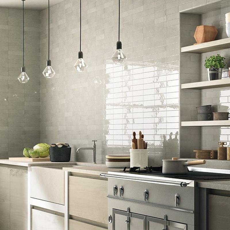 Block Cloud Grey 7.6x30.2 Kitchen Wall