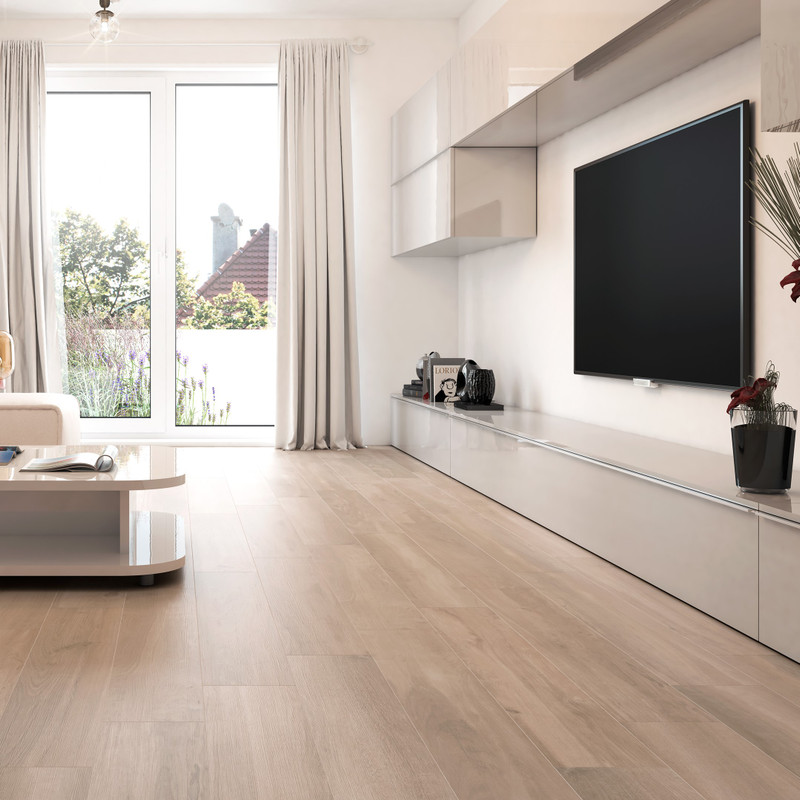 Tuscany Ra  Arena 20x120 wood Tile in Modern Lounge / Living Room Space