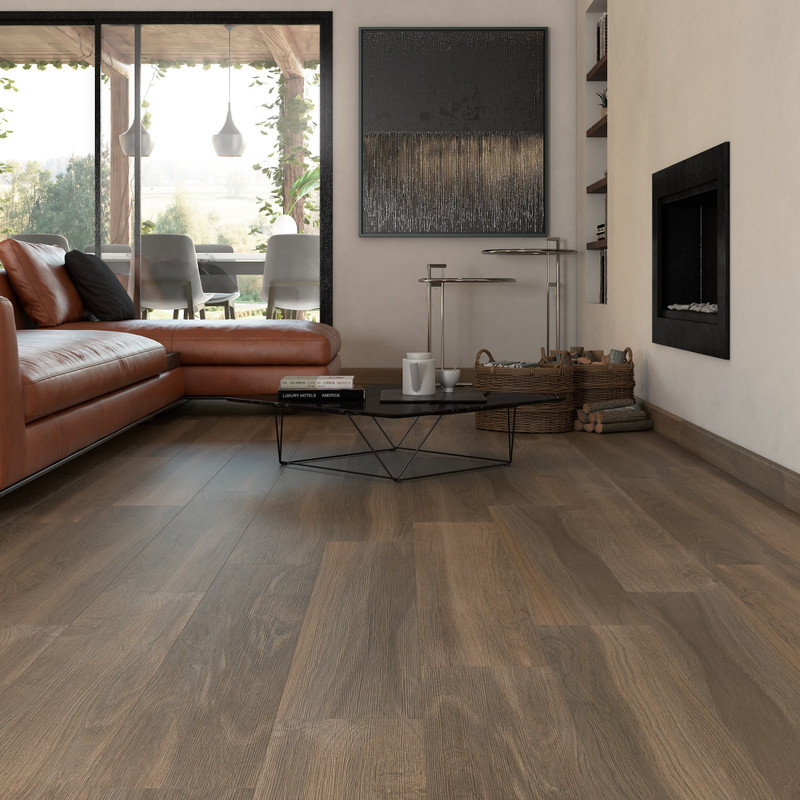 Tuscany Ra  Taupe 20x120 wood Tile in Modern Lounge / Living Room Space