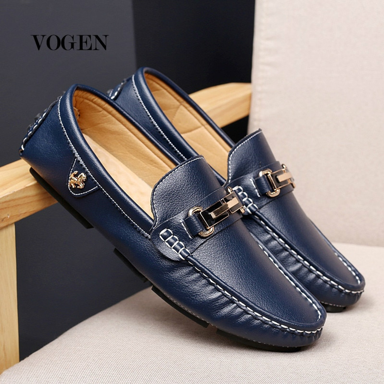 Italian Casual Luxury Winter Men Loafers Genuine Leather Moccasins Breathable Slip on Boat,Summer Blue,8