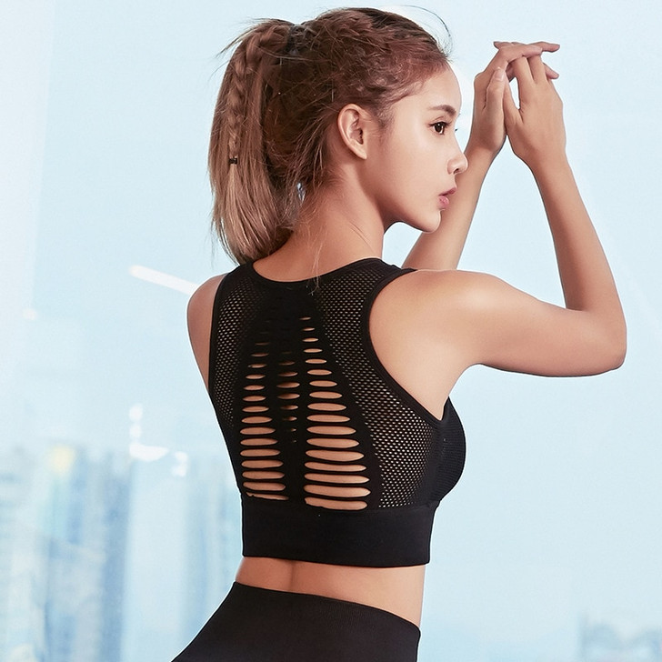 New Breathable Sports Bras For Women Quick Dry Elastic Running Ladies Yoga Bra Solid Color Hollow Out Back Girl Sports Vest Tops Sports Bras 
