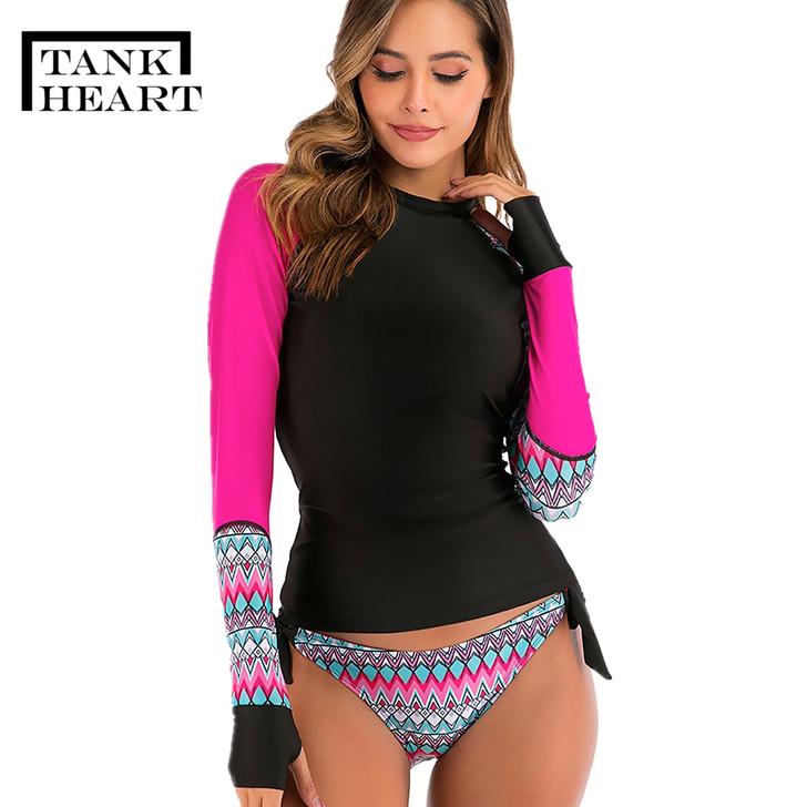 Two piece Swimsuit Tankini Plus Size Swimwear Large Sizes Long Sleeve Swimsuit Bathing Suit Women Swimming swimsuits Swim Suit|Body Suits|