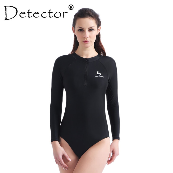 Detector One Piece Swimsuit High Neck Rash Guard Long Sleeve Swimwear Swimming Suit for Women Push up Bathing Suit Bodysuit|Body Suits|