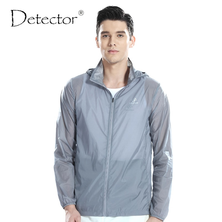 Detector Men Outdoor Ultralight Water Resistant Windbreaker UV Anti Protection Skin Jacket Camping Hiking Jacket Thin Sport Coat|hiking jackets|jacket camping skin jacket