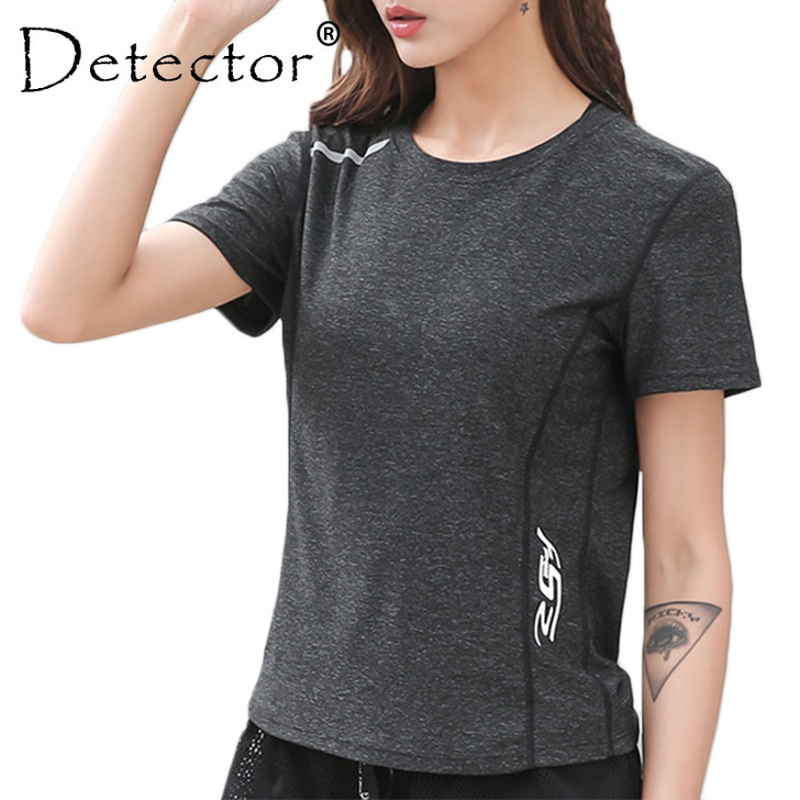 Detector Women Fitness Running Short Sleeve Tops Dry Quick Breathable Gym Yoga T Shirts Women Sport Tee Workout Training Clothes|Yoga Shirts|