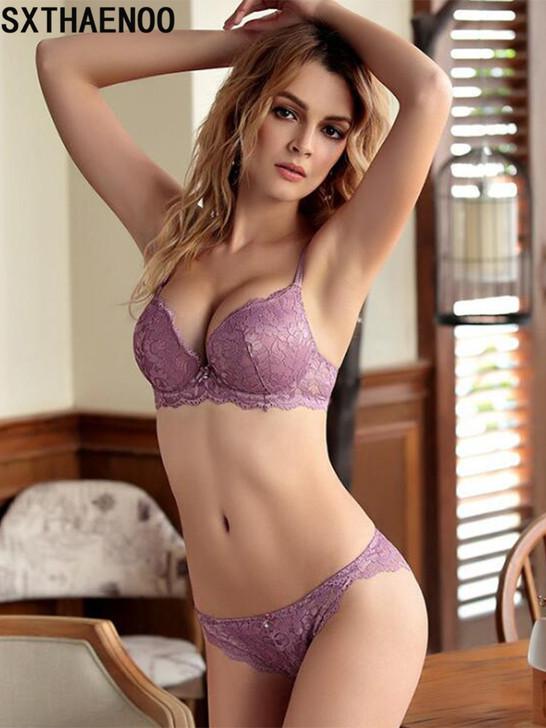 SXTHAENOO Fashion Sexy Lace Bra Set Women Underwear Set Push Up Bra Set Sexy Lcae Briefs Lingerie 3/4 Cup|Bra & Brief Sets|