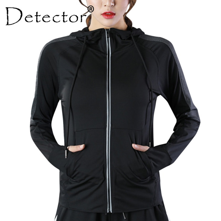 Detector Women's Running Zipper Long Sleeve Running Jacket Fitness Workout Quick Dry Breathable Hoodies Tops Tights Sportswear|Running Jackets|