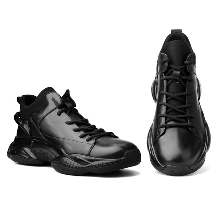 Leisure leather shoes man's sports shoes really genunine leather shoes thick soles men's tidal shoes, Men's Casual Shoes 