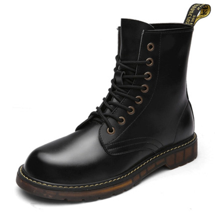 Madingxue male British high boots winter warm cotton shoes desert workers military boots   