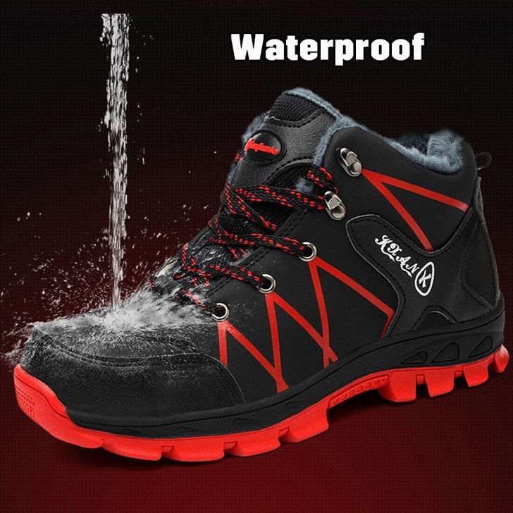 2019 Winter Work Safety Shoes Waterproof Men's Boots Outdoor Warm Waterproof Non slip Ankle Snow Boot Thick Plush Rubber Nonslip|Work & Safety Boots|
