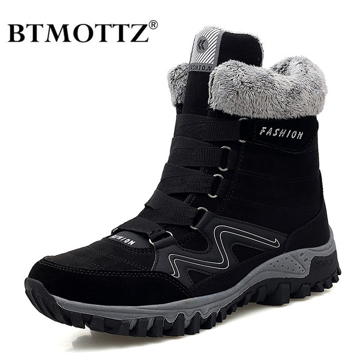 Leather Men Boots Winter with Fur Super Warm Snow Boots Men Winter Work Casual Shoes Sneakers High Top Rubber Ankle Boots Female Snow Boots 