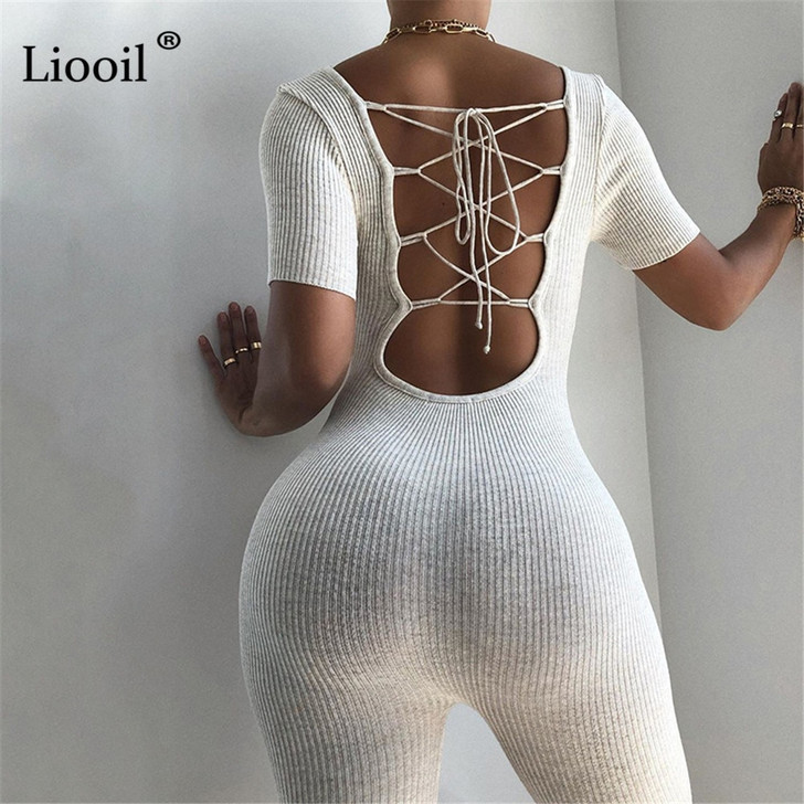 Liooil Sexy Bandage Playsuit Black White Backless Jumpsuits Short Sleeve Hollow Out Bodycon Party Club Rompers Womens Jumpsuit Rompers 