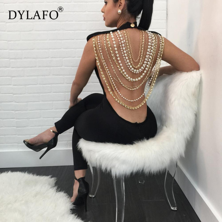 Hot Sale Pearl Chain Sexy Backless Jumpsuit Women Sleeveless Skinny Bodycon Rompers Women Party Overalls Casual Tassel Playsuits|romper women|party overallsoverall jumpsuit