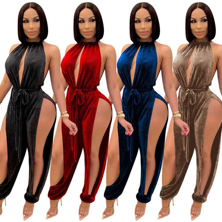 Cutubly Hollow Out Club Jumpsuits For Women Fashion Autumn Solid Sexy Jumpsuit Halter Party Rompers And Jumpsuits For Women| |
