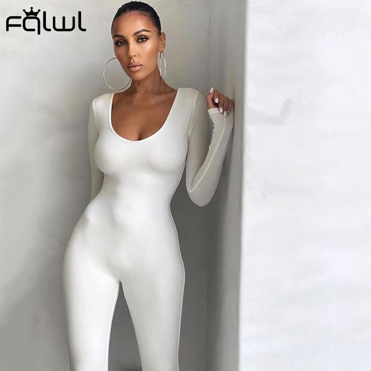 FQLWL Fall Winter Long Sleeve Sexy Rompers Womens Jumpsuit Female One Piece Outfits Brown Black White Bodycon Jumpsuit For Women Jumpsuits 