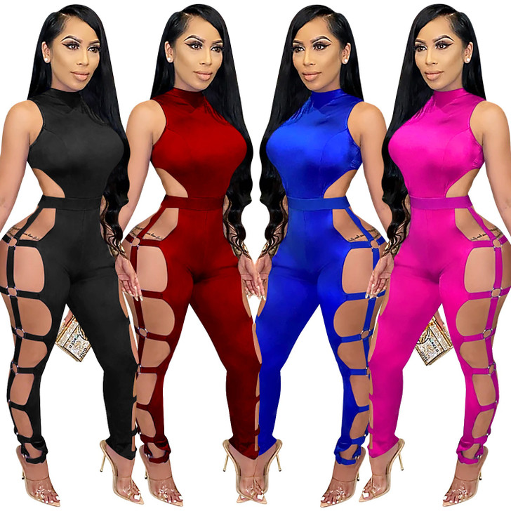 Cutubly Sexy Hollow Out Jumpsuit Solid Jumpsuits for Women Sleeveless Turtleneck Playsuit for Women Sexy Club Long Rompers Jumpsuits 