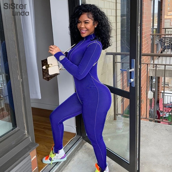 Fashion Casual Sporty Workout Romper's Womens Stripe Jumpsuit Skinny Long Sleeve Athleisure Bodycon Zipper Playsuits   