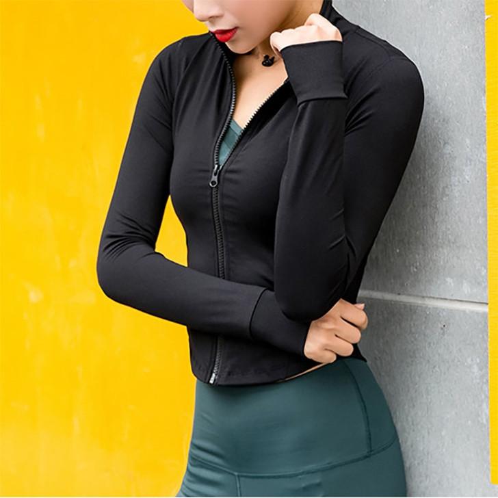 Running Jacket Women Long Sleeve Zip Fitness Yoga Shirt Top Workout Gym Activewear Sport Coats Training Quick Dry Nylon Spandex|Running Jackets|