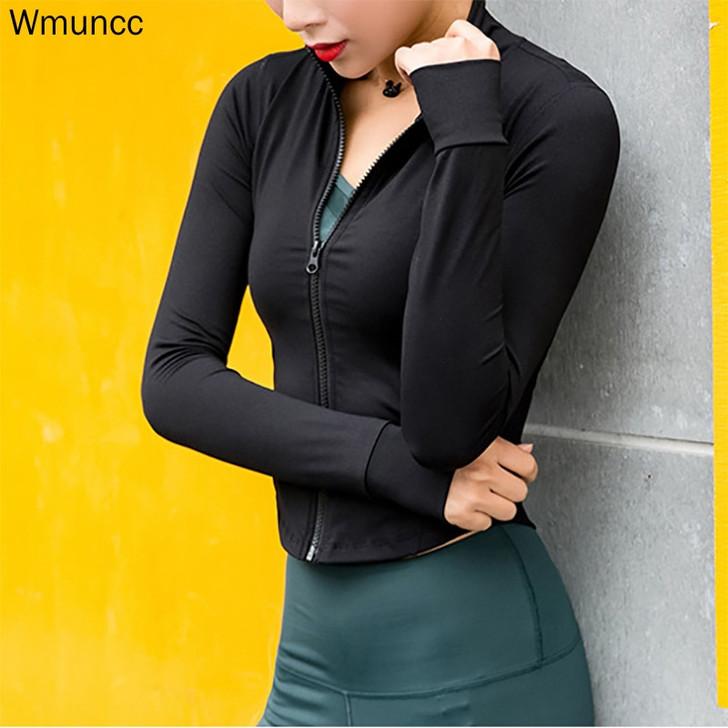 Wmuncc Running Jacket Women Long Sleeve Zipper Fitness Yoga Shirt Top Workout Gym Activewear Sport Coats Training Quick Dry|Running Jackets|