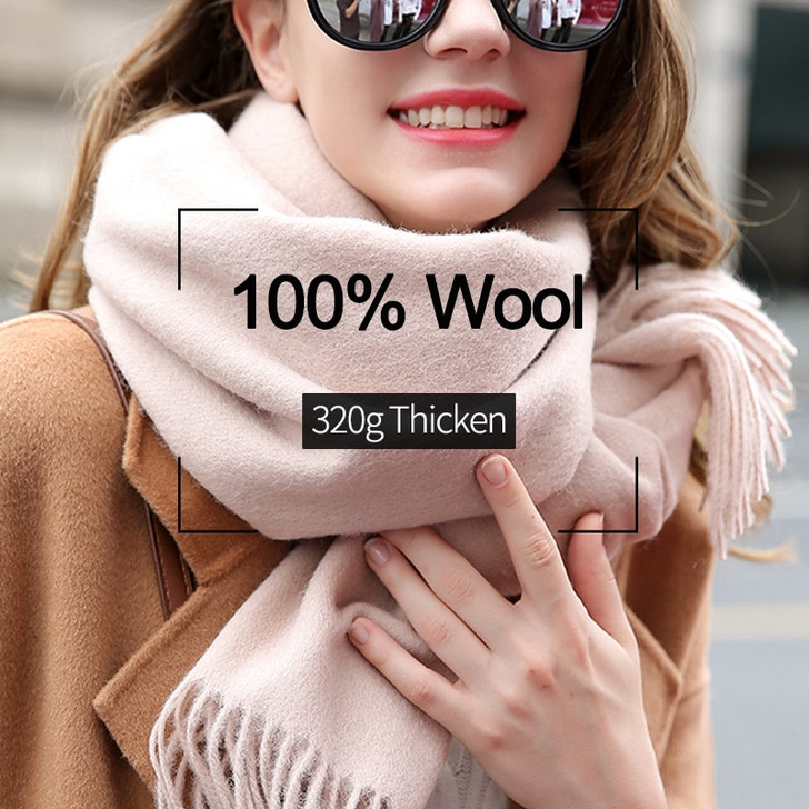 100% Wool Scarf For Women Thick Warm Long Beige Wool Scarf for Ladies Winter Pure Wool Shawls Wraps Foulard Femme Cashmere Scarf lamb wool scarf scarf for womenladies scarves