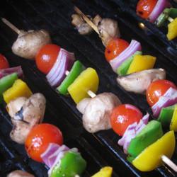 Capsicums, zucchini, eggplant & mushrooms skewer, marinated in chimichurri sauce