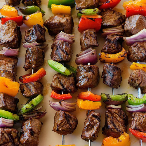 Beef skewer, mixed with onion and red capsicum, and seasoned with our famous spices
