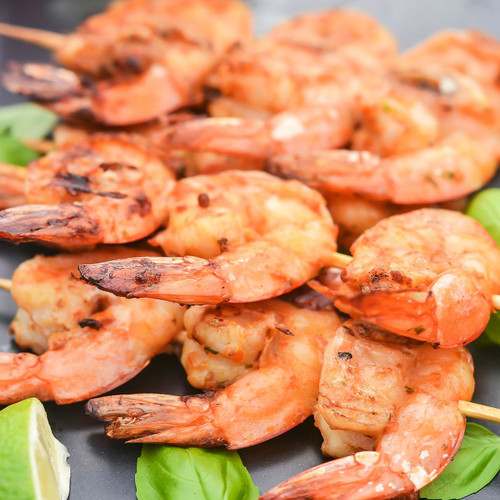 Prawn skewer, served with chilli and garlic sauce