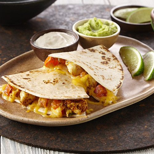 Quesadillas filled with shredded beef, chicken or vegetables