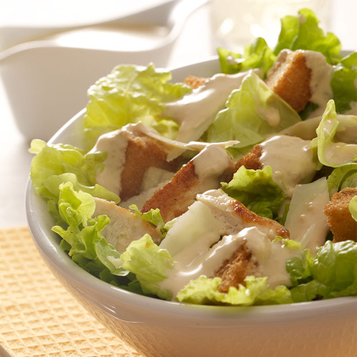 Caesar Salad with crisp bacon and croutons