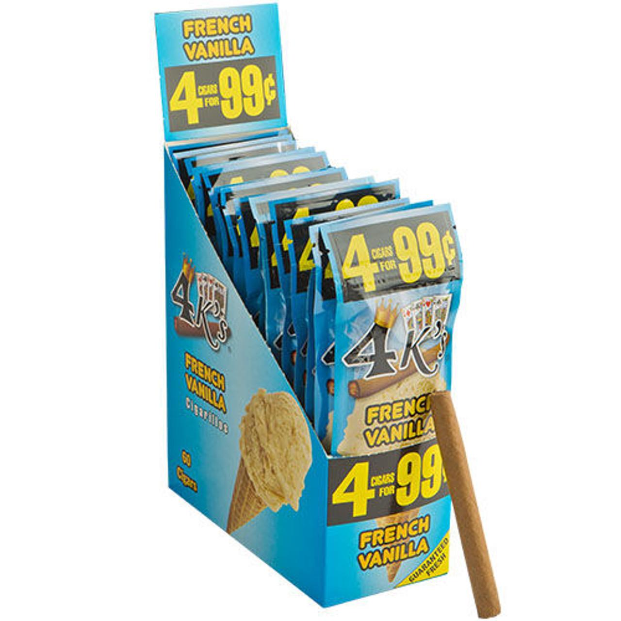 Good Times 4 K's Cigarillos French Vanilla Cigars - 4.25 x 28 (15 Packs of 4 (60 Total))