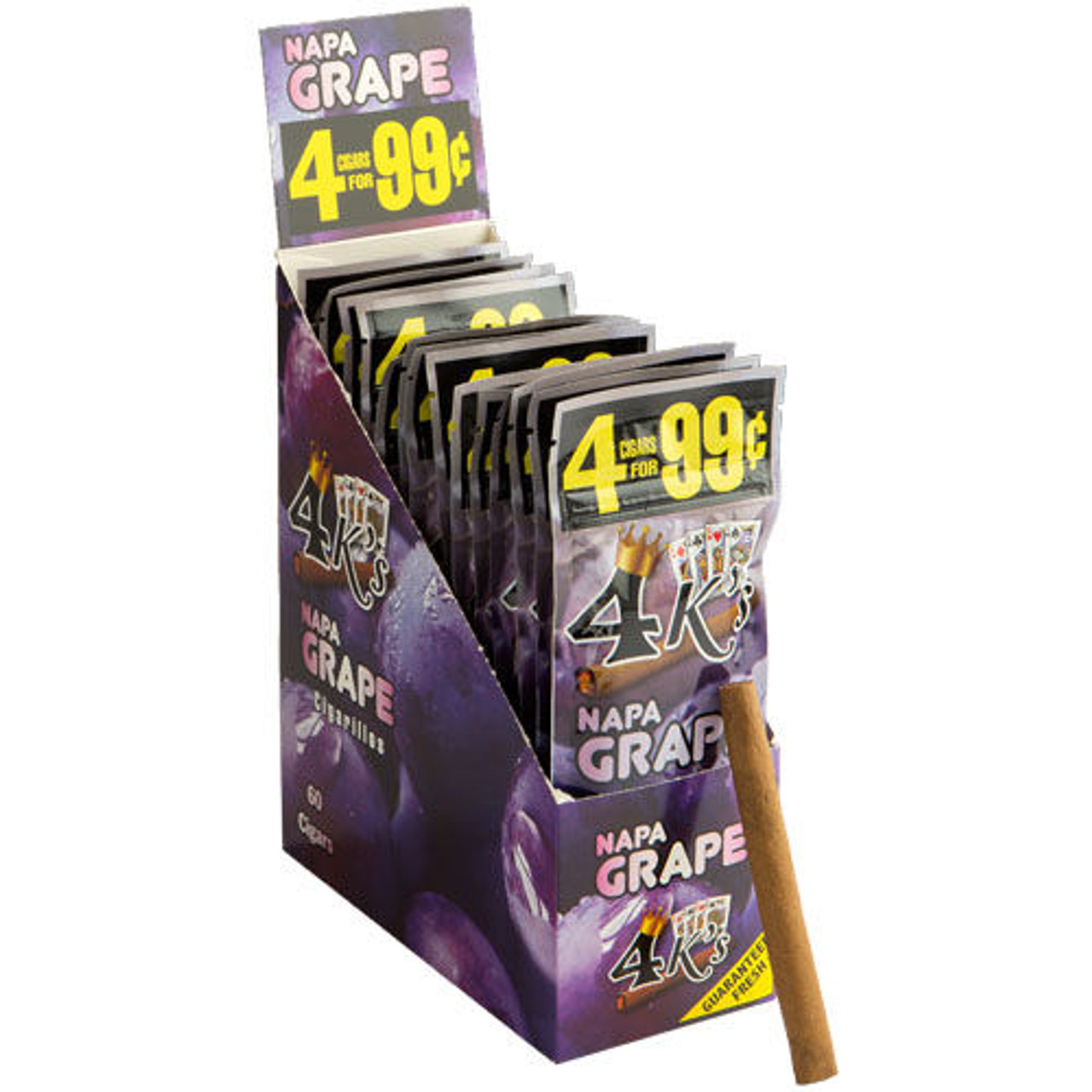 Good Times 4 K's Cigarillos Napa Grape Cigars - 4.25 x 28 (15 Packs of 4 (60 Total))