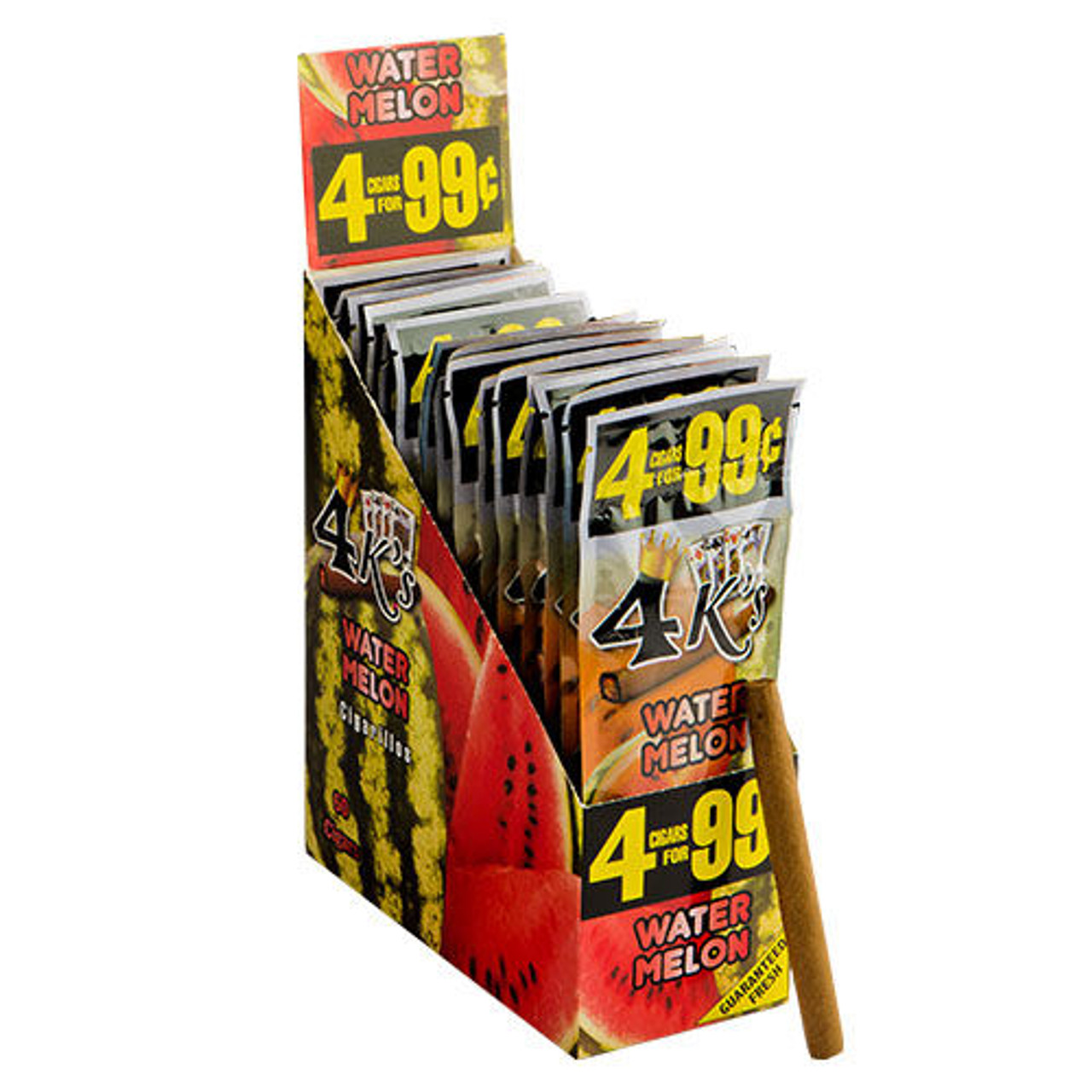 Good Times 4 K's Cigarillos Watermelon Cigars - 4.25 x 28 (15 Packs of 4 (60 Total))