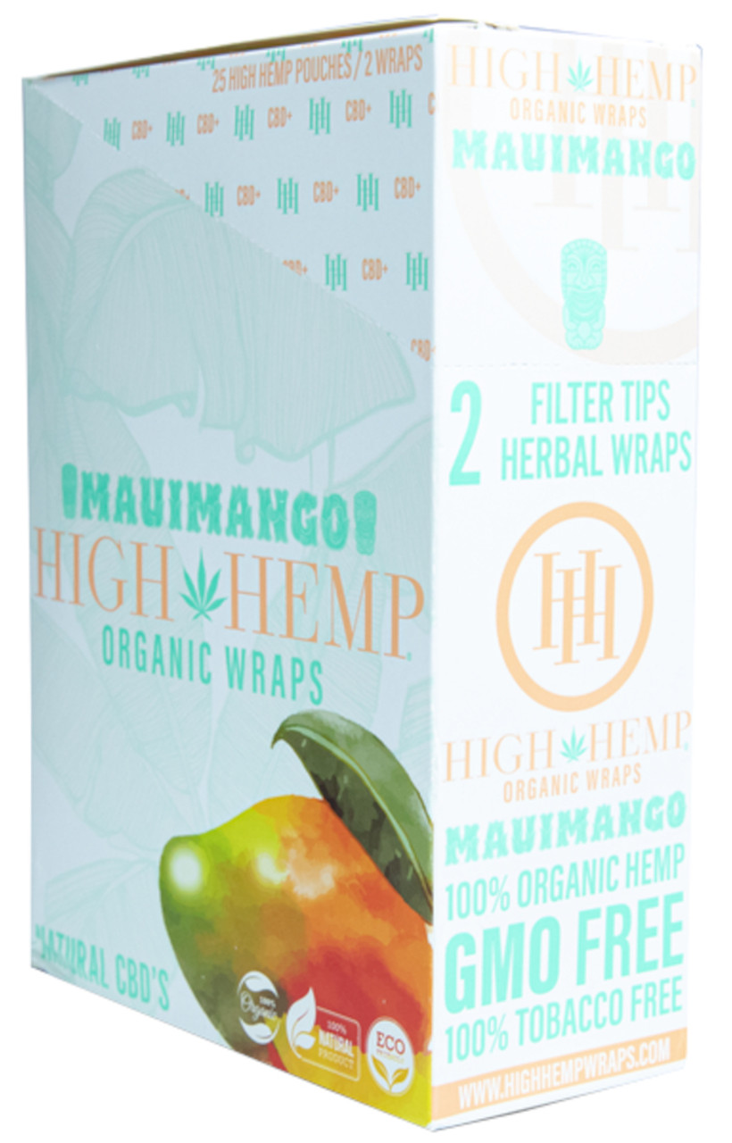 High Hemp Flavored Organic Hemp Wraps Maui Mango Box