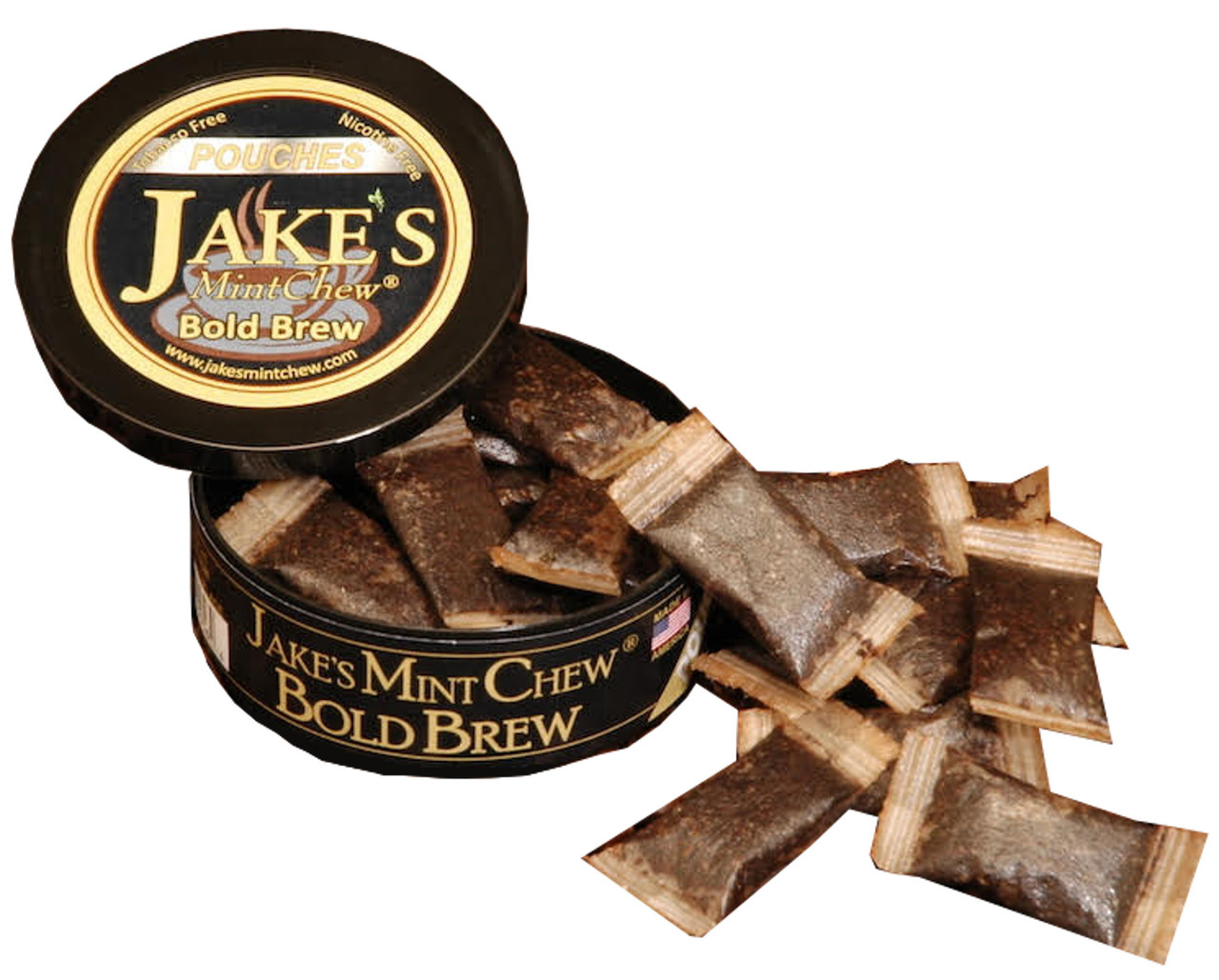 Jake's Mint Chew Pouches Bold Brew 1 Can Open