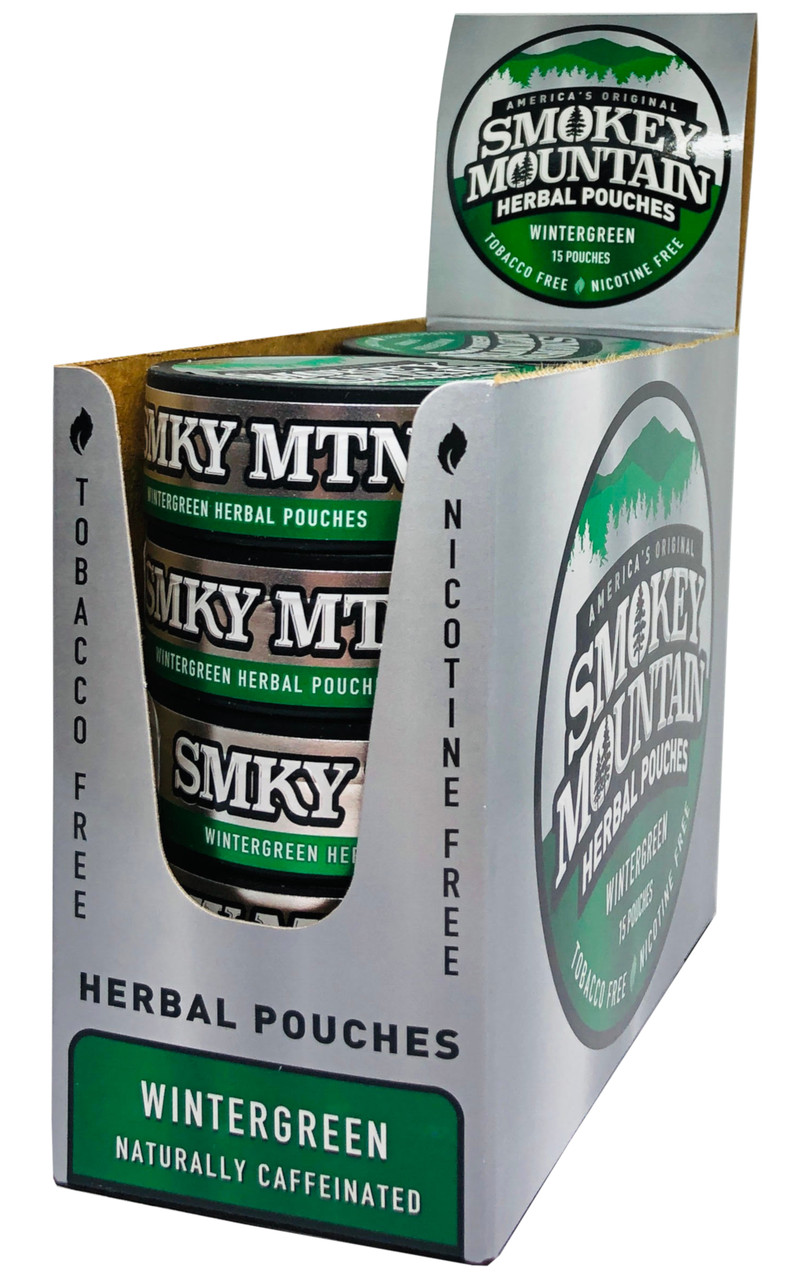 Smokey Mountain Wintergreen Pouch Herbal Snuff 10 Cans