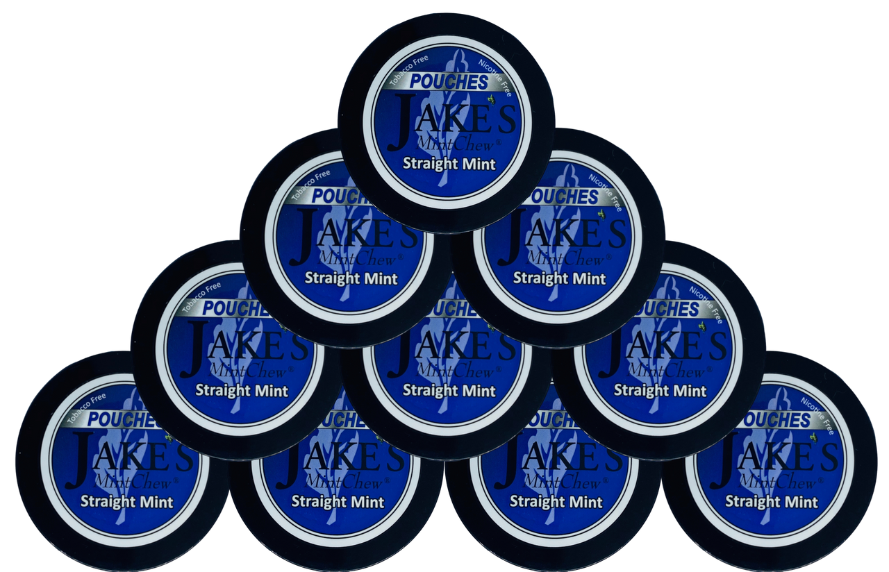 Jake's Mint Herbal Chew Pouches Straight Mint 10 Cans