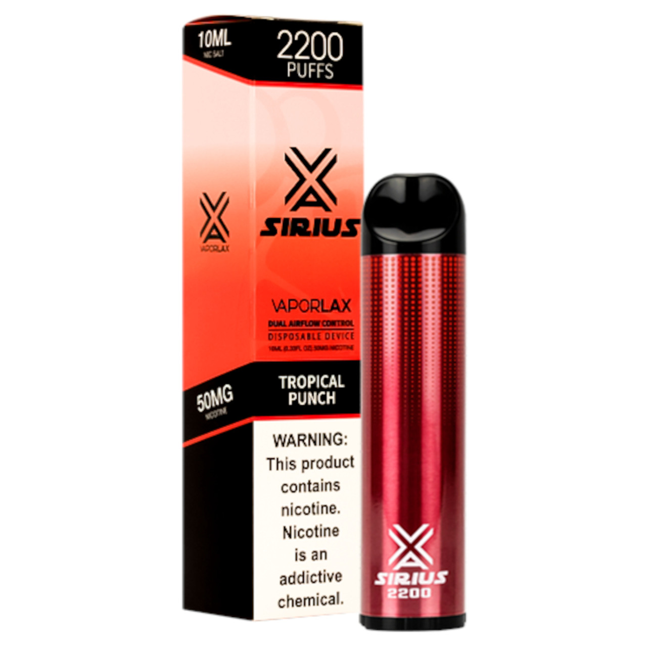 VaporLax Vape Sirius 2200 Flavored Disposables Tropical Punch Box
