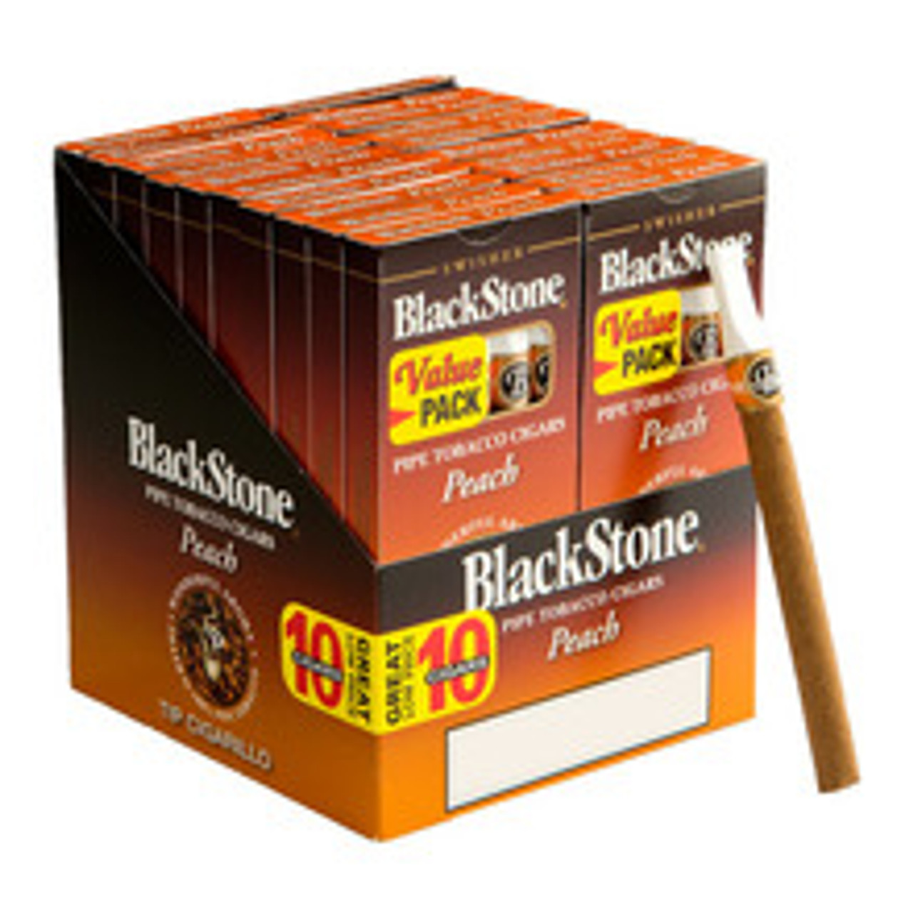 Blackstone Tipped Peach Cigars (10 Packs Of 10) - Natural