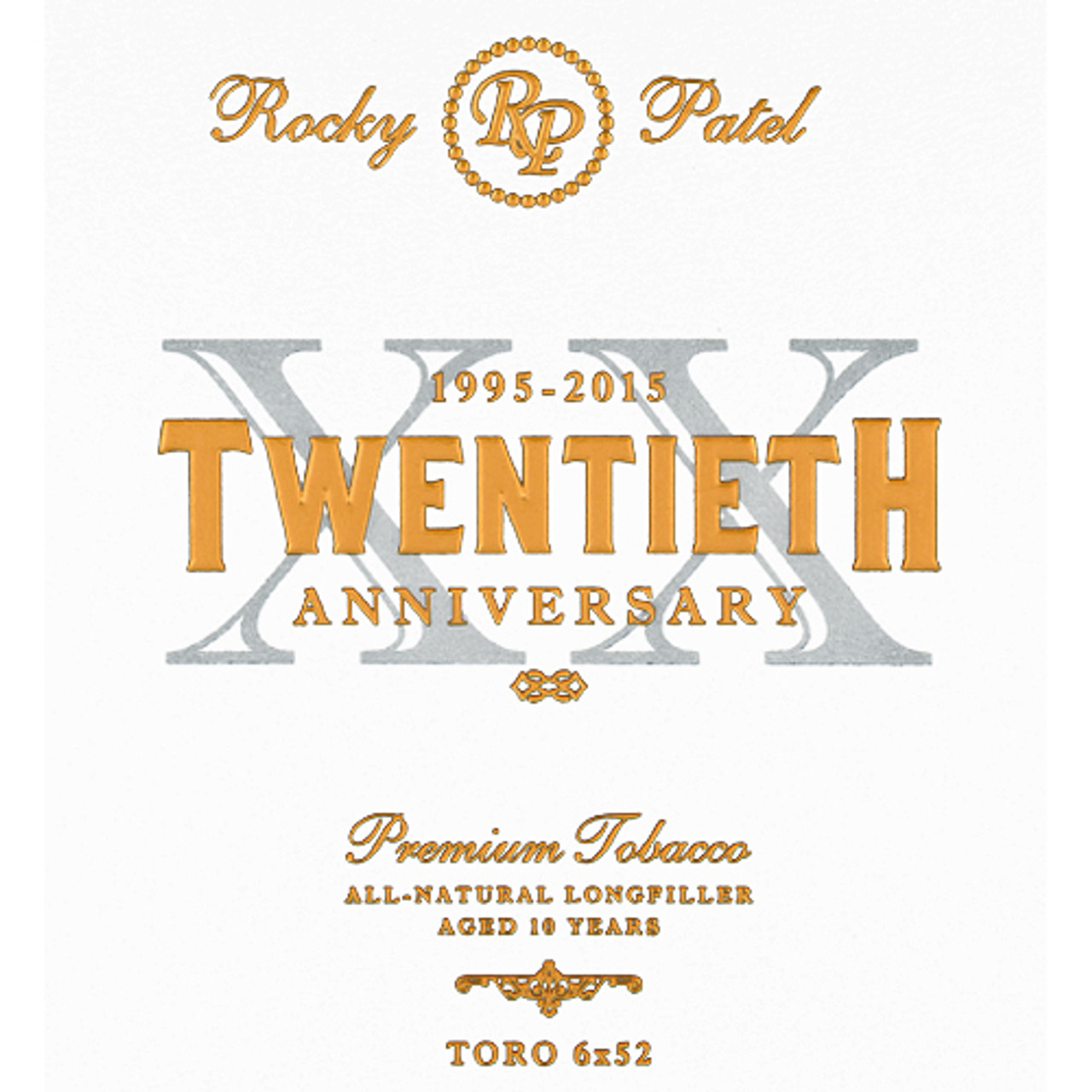 Rocky Patel Twentieth Anniversary Robusto Grande Cigars - 5 x 54 (Box of 20)