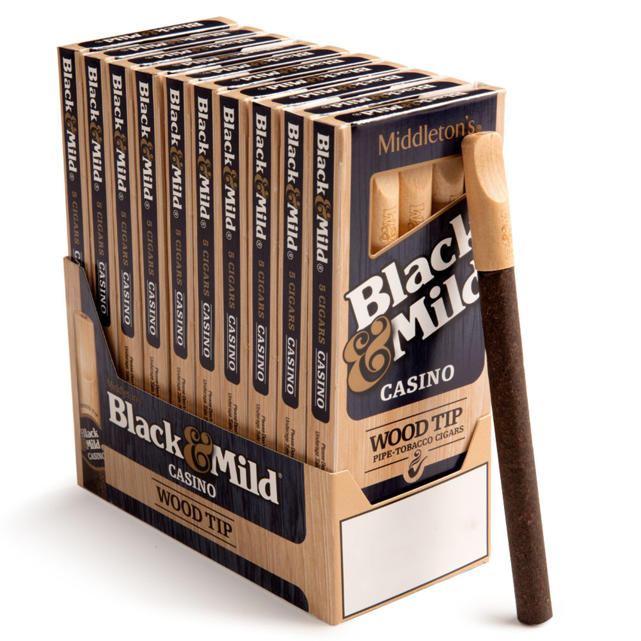 Black and Mild Wood Tip Casino Cigars (10 packs of 5) - Natural