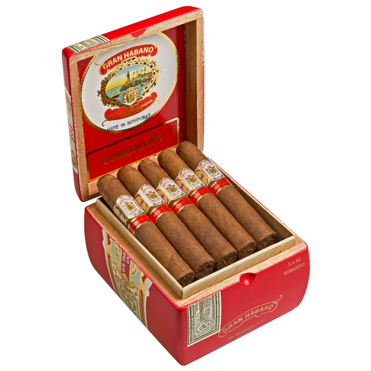 Gran Habano #5 Corojo Robusto Cigars - 5 x 52 (Box of 20)