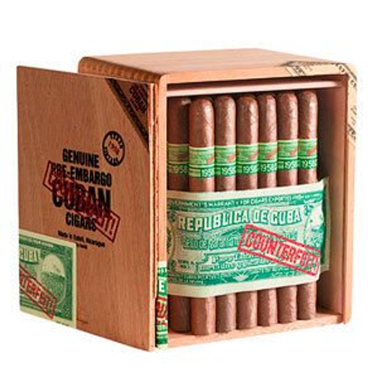 Genuine Pre-Embargo Counterfeit Cubans 1958 Belicoso Figurado Cigars - 6 x 54 (Box of 25)