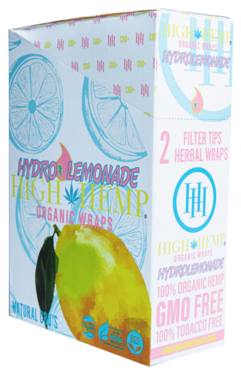 High Hemp Flavored Organic Hemp Wraps Hydro Lemonade Box
