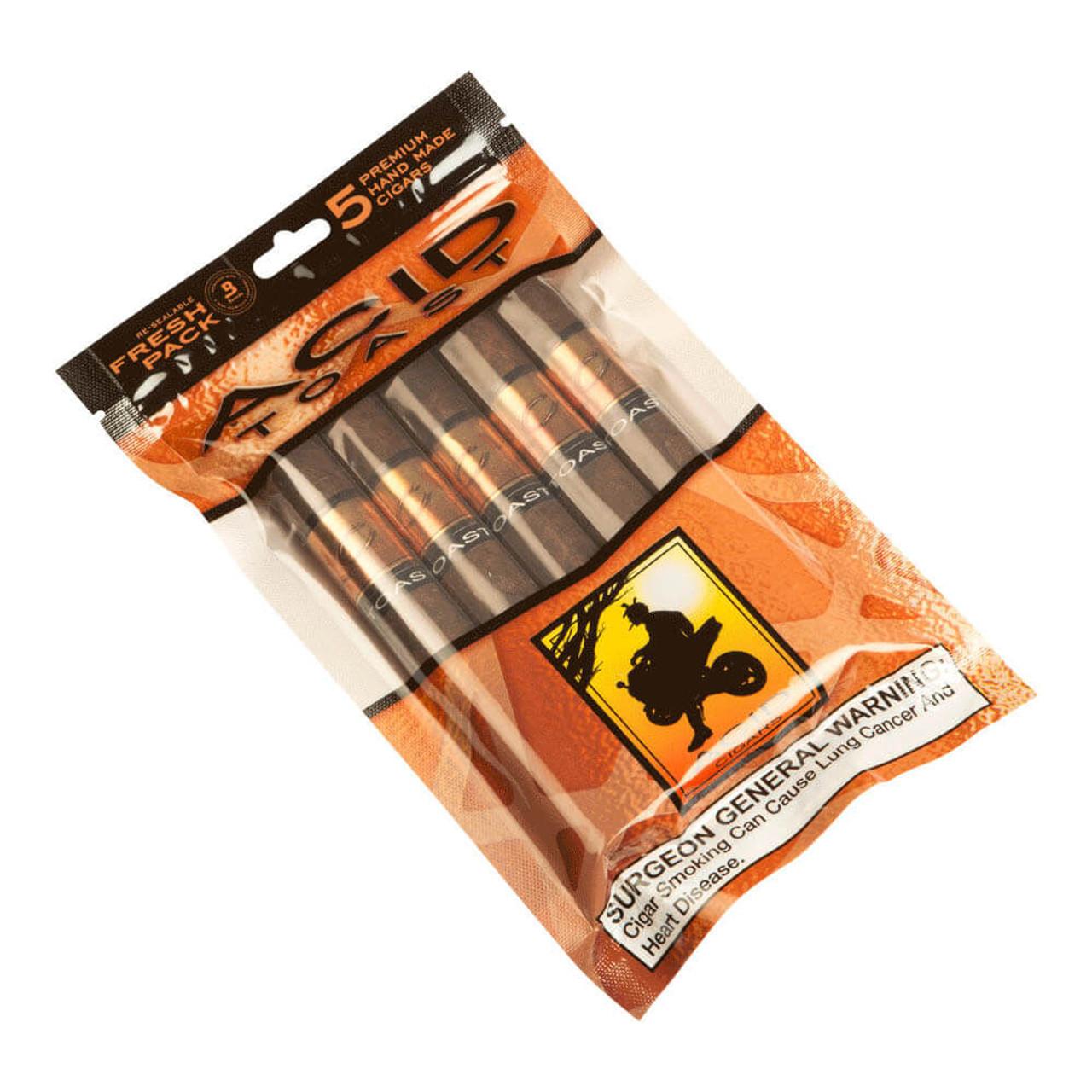 Acid Gold Toast 5/5 Fresh Seal Packs Cigars - 6 x 50 (5 Packs of 5 (25 total))