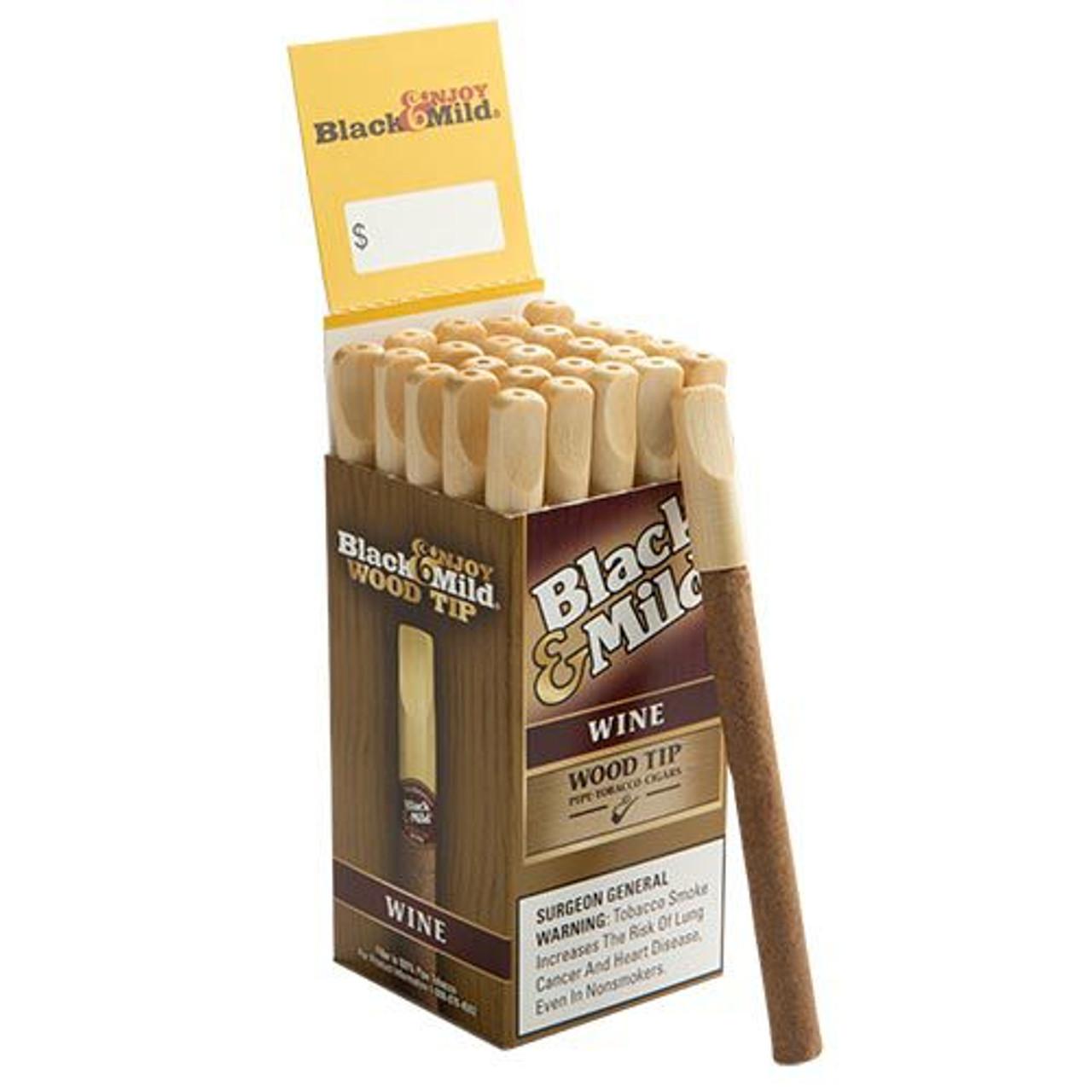 Black & Mild Cigars Wood Tip Wine Cigars - 5 x 29 (Box of 25)