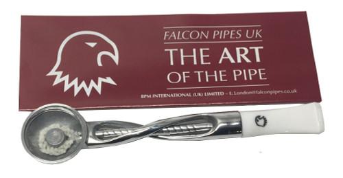 Falcon Pipe Shillelagh Chrome Straight White Stem